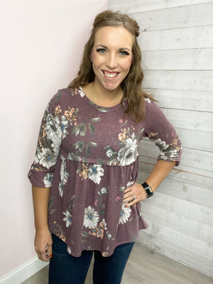 """Move Around"" Burgundy Floral Top"