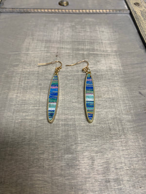 Gold Eclipse Bar Earring with Multi Colored Stripes