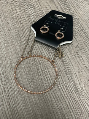NE3503 Silver/Rose Gold Circle Pendant