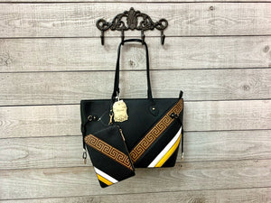Black Tote w/ Camel & Mustard Accent and Wallet