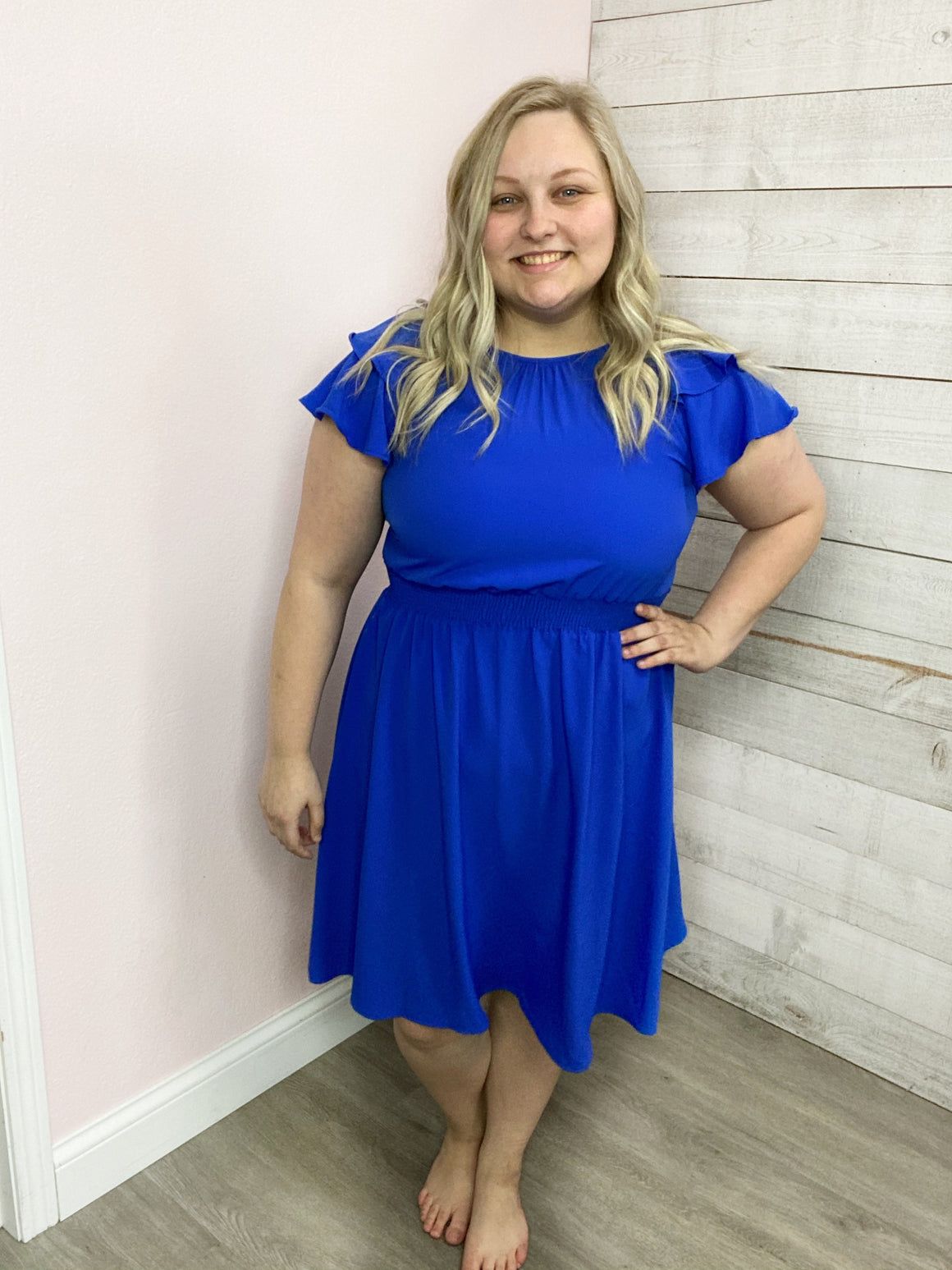 """Royal Beauty"" Blue Ruffle Sleeve Dress"