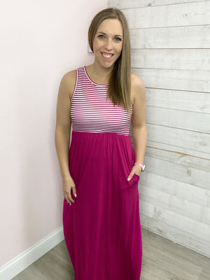 """Sangria Sunset"" Fuchsia Maxi Dress with Pockets"