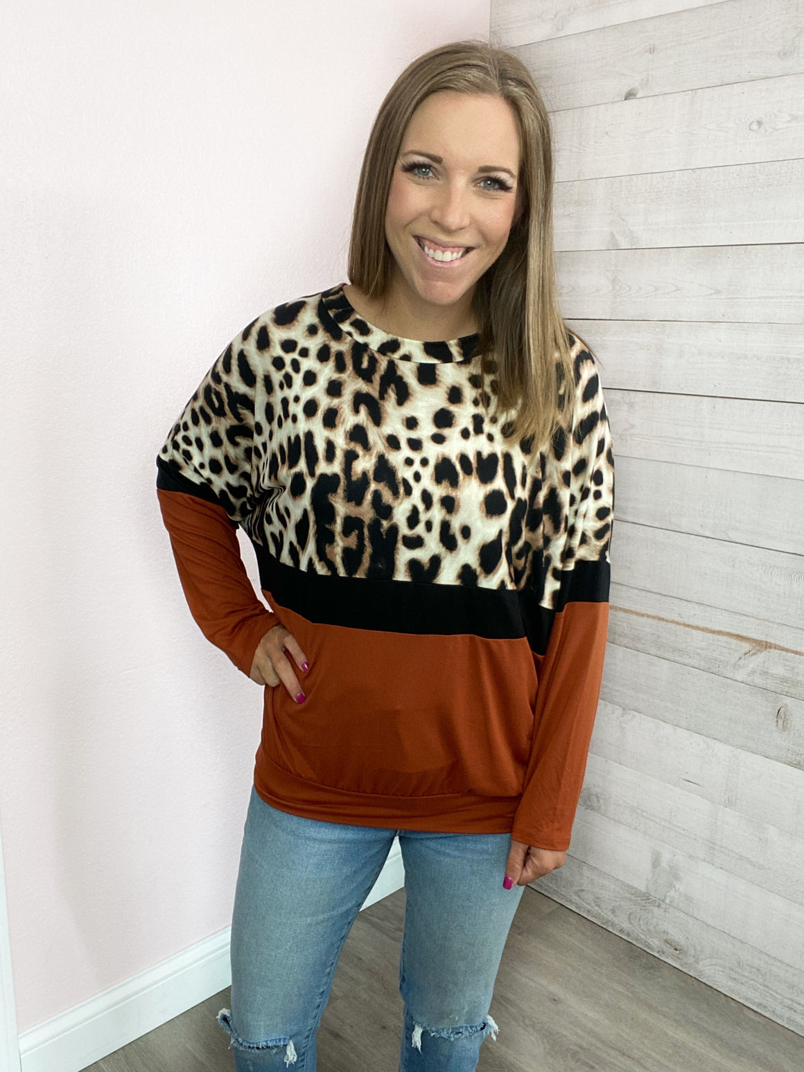 """Office Hours"" Rust Cheetah Sweater"