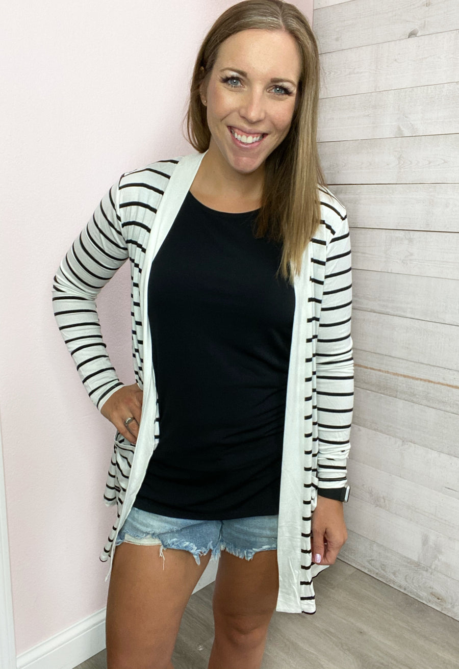"""My Darling"" Ivory/Black Cardigan"