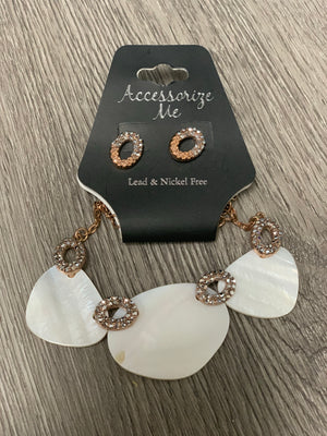 NE3402 Rose Gold & Shell Ovals Necklace/Earrings