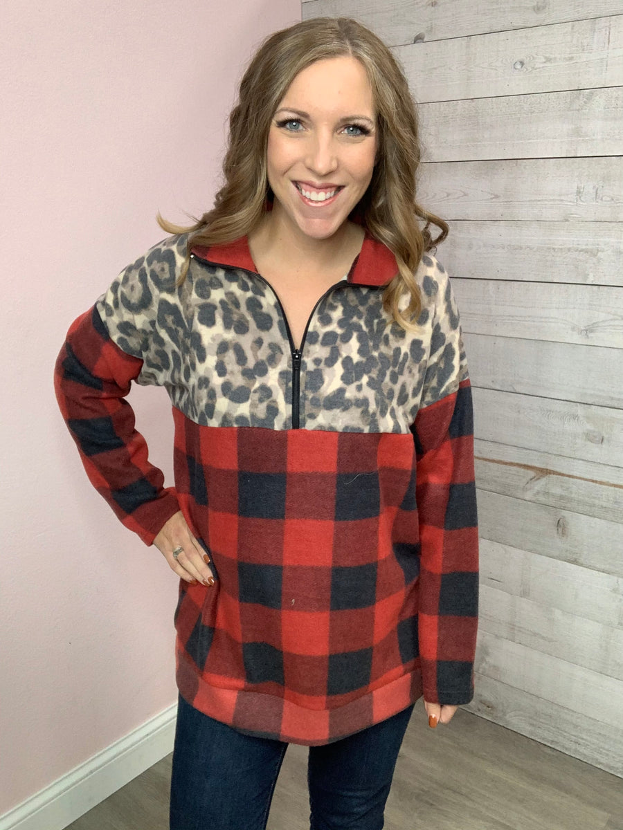 """Mix Me Up"" Cheetah/Buffalo Plaid 1/4 Zip"