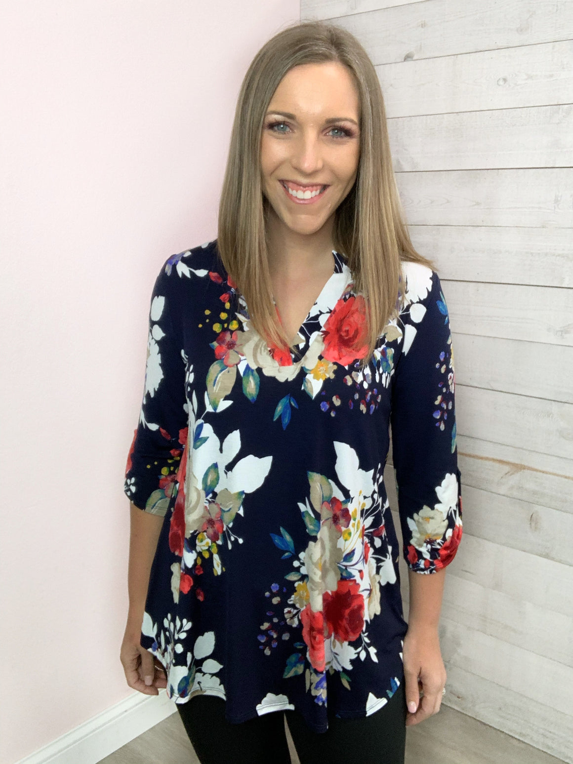 """Spring Burst"" Navy Floral Top"