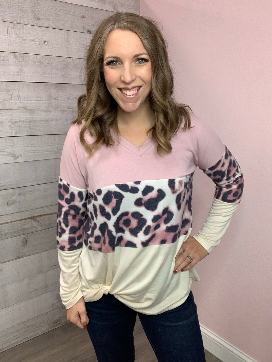 """Soft Mood"" Dusty Pink Color Block Top"