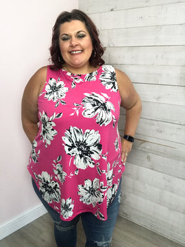"""""""Space Between"""" Fuchsia Floral Tank"""