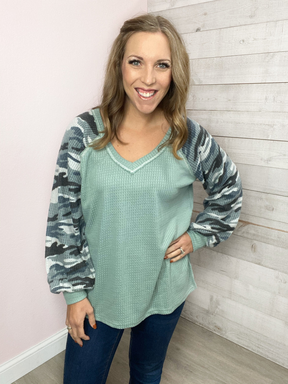 """Talk About It"" Sage Camo Top"