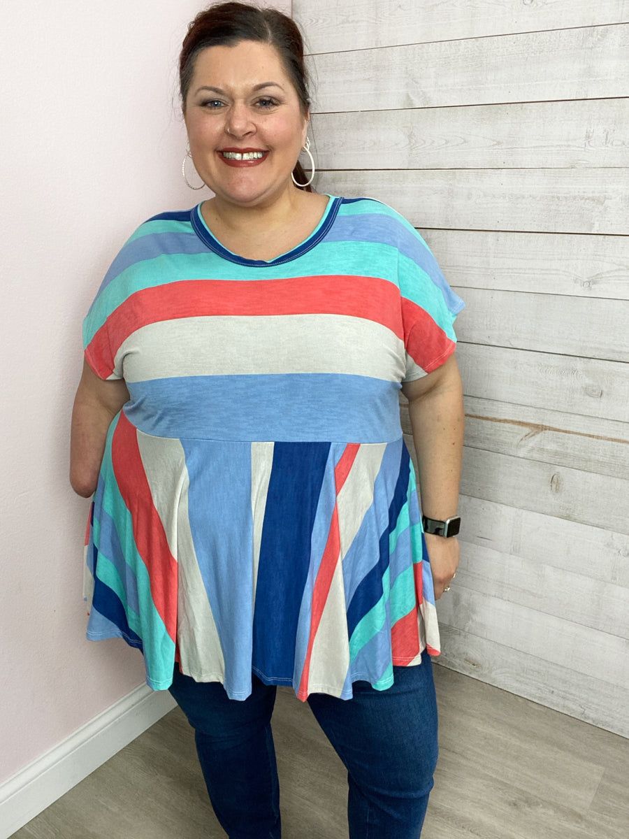 """Sweet Success"" Blue/Coral Stripe Babydoll Top"