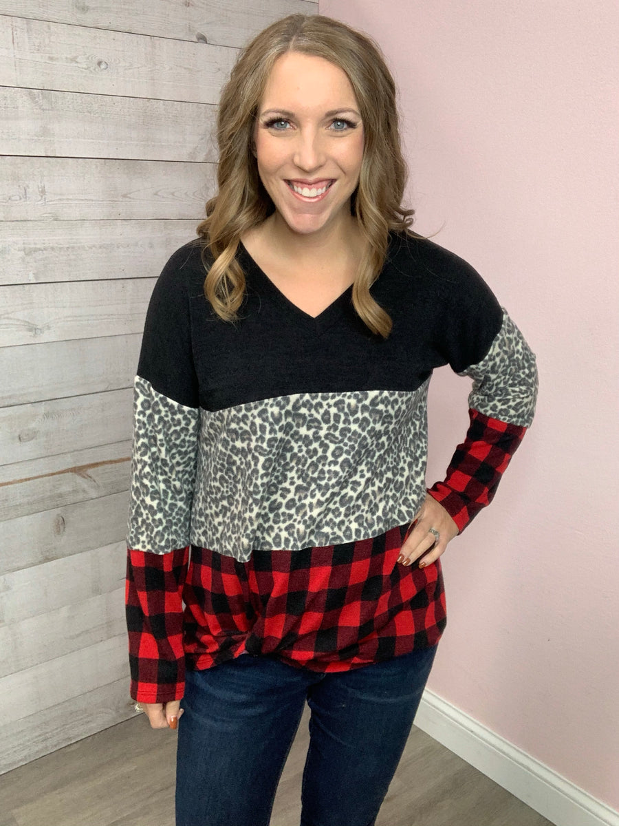 """New Look"" Red Buffalo Plaid Top"
