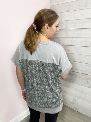 """Best Surprise"" Short Sleeve Top with Floral Back"