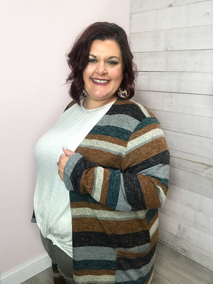 """Well Wishes"" Teal and Brown Cardigan"