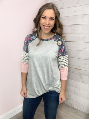 """Spring Feeling"" Grey Floral top"