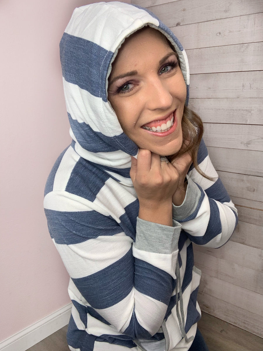 """Wonderland"" Navy and Ivory Stripe Hoodie"