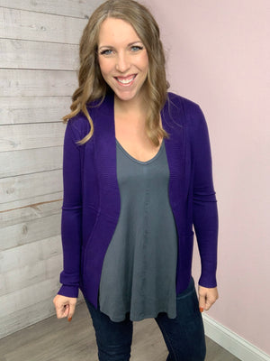 """Smooth Talk"" Purple Cardigan"