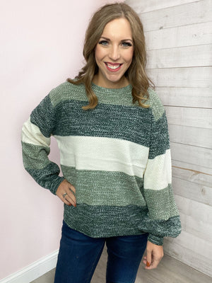 """Be My Guest"" Hunter Green Stripe Sweater"