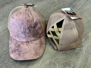 C.C. Criss Cross Vintage Faux Leather w/ Mesh Hat
