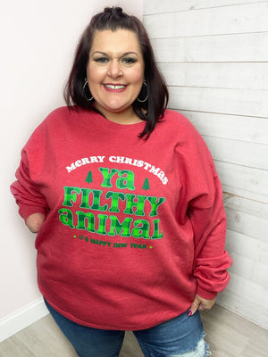 """Ya Filthy Animal"" Red Sweater"