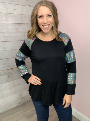 """My Guest"" Black Sequin Top"