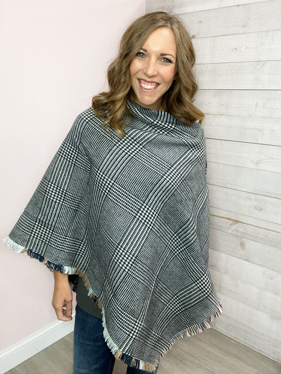 """Making Promises"" Plaid Poncho w/ Button"