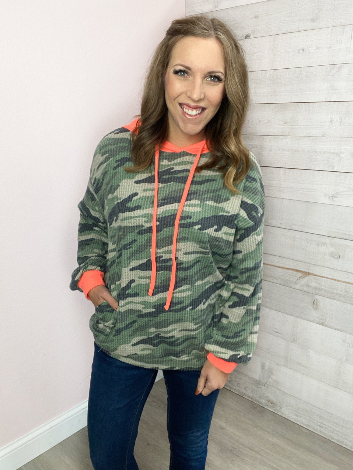 """Move Along"" Camo and Pink Hoodie"