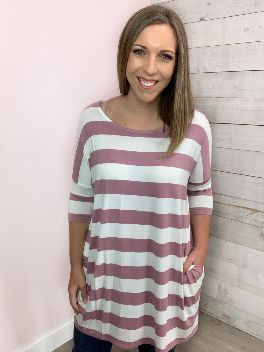 """Read My Mind"" Light Rose Stripe Top"