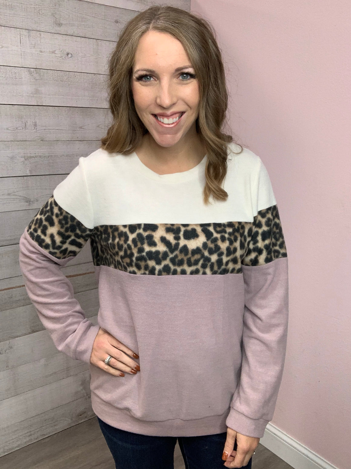 """Why Not"" Lavender Color Block Top"