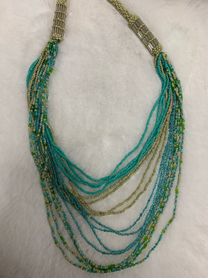 Turquoise & Sage Beaded Necklace N4706