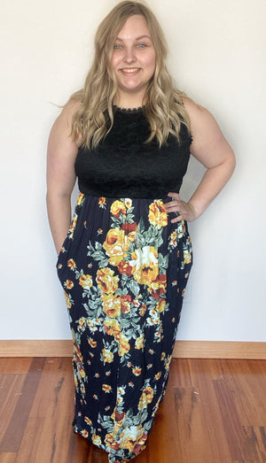 """Striking Beauty"" Black Flower Maxi Dress with Pockets"