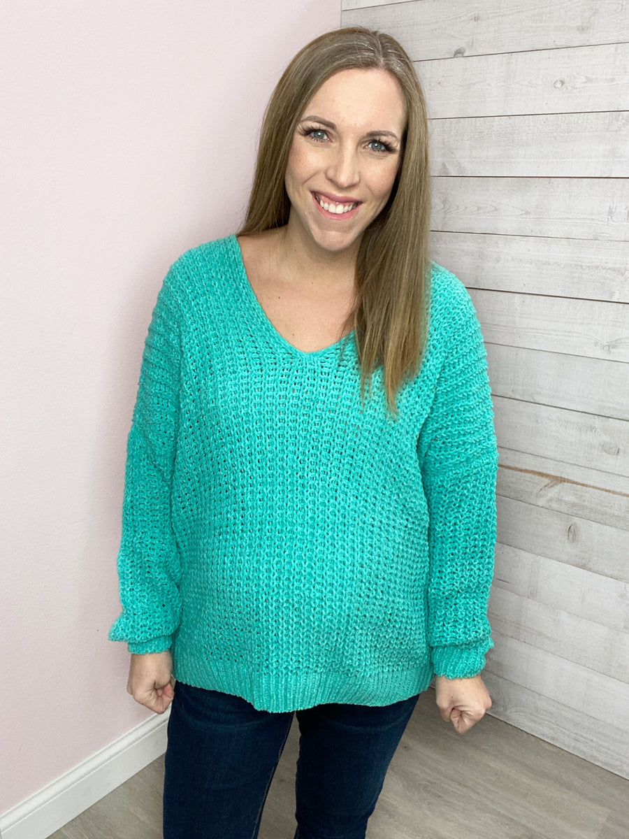 """Must Be Love"" Jade V Neck Sweater"