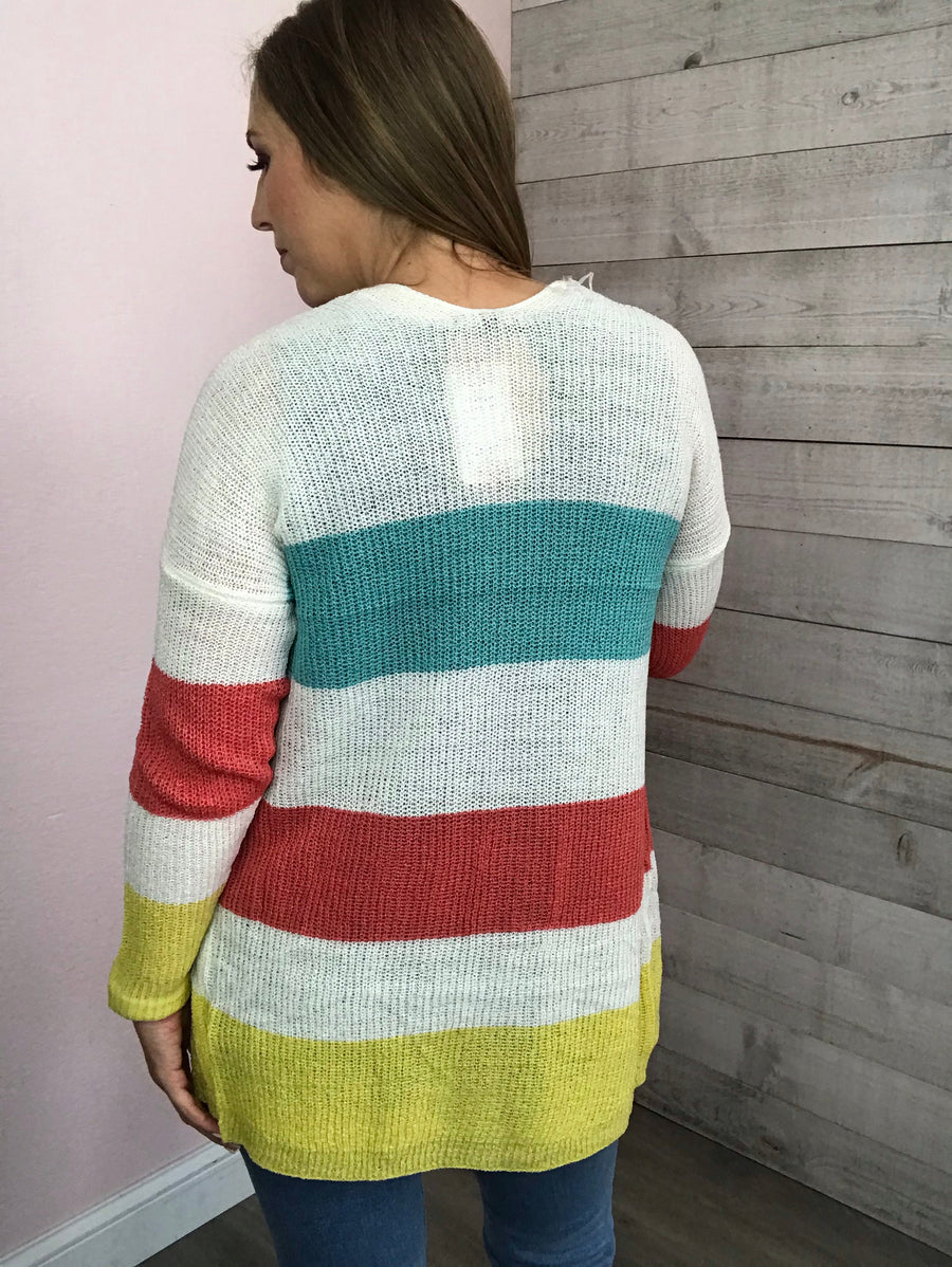 """Unmatched"" Coral and Blue Cardigan"