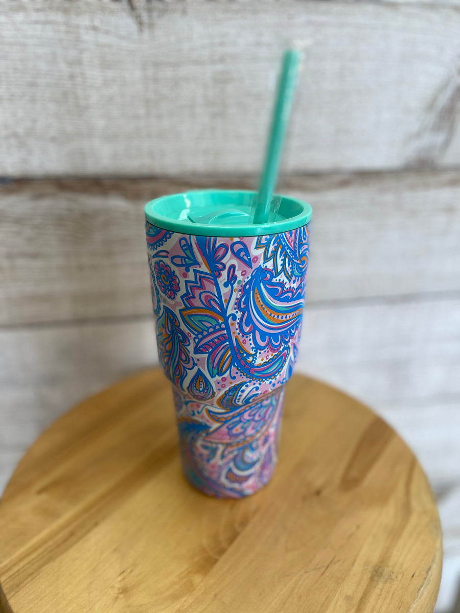 Paisley Tumbler with Straw
