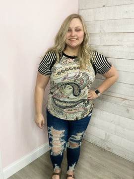 """""""Pure Wonder"""" Paisley Top with Stripe Short Sleeve"""