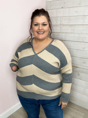"""She's Got Class"" Beige/Grey Stripe V Neck Sweater"