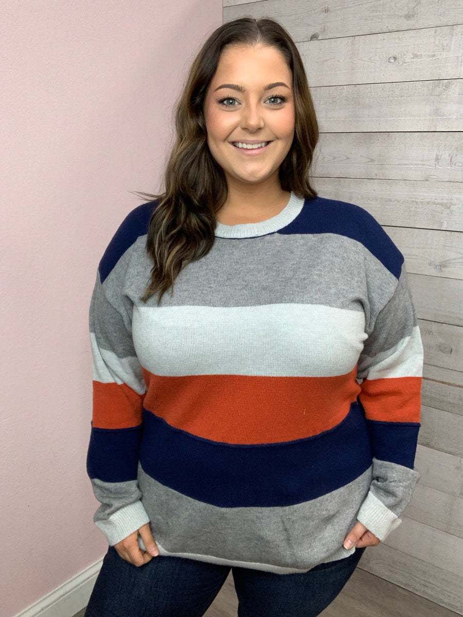 """Slow Me Down"" Navy Stripe Sweater"