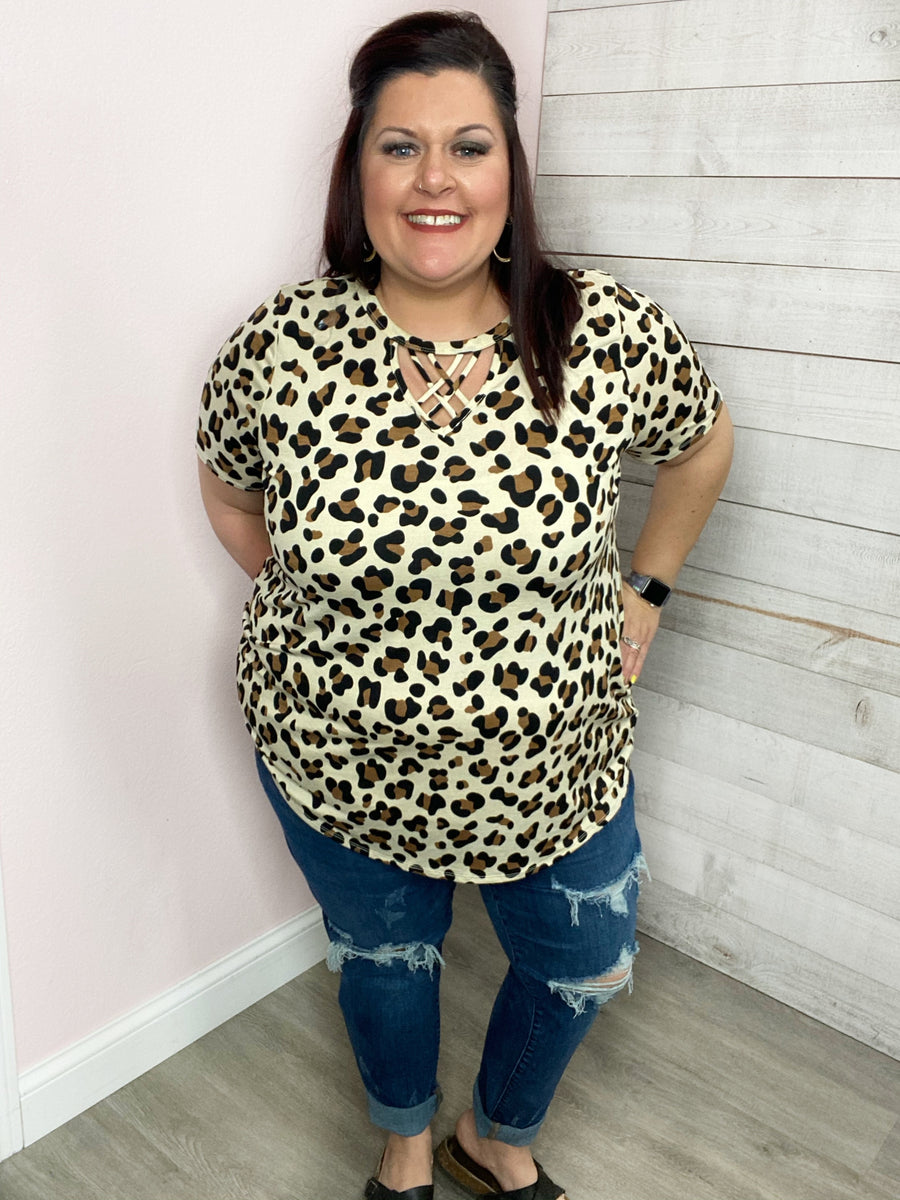 """On An Adventure"" Lattice VNeck Animal Print Top"