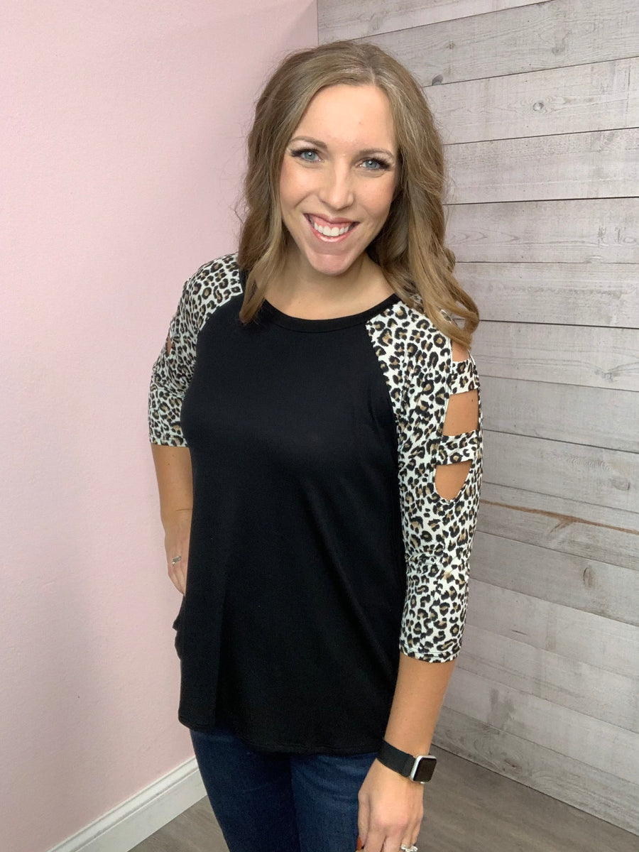 """Perfection"" Black/Cheetah Top"
