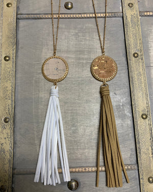 Cork Disk Pendant with Tassel Necklace/Earring Set