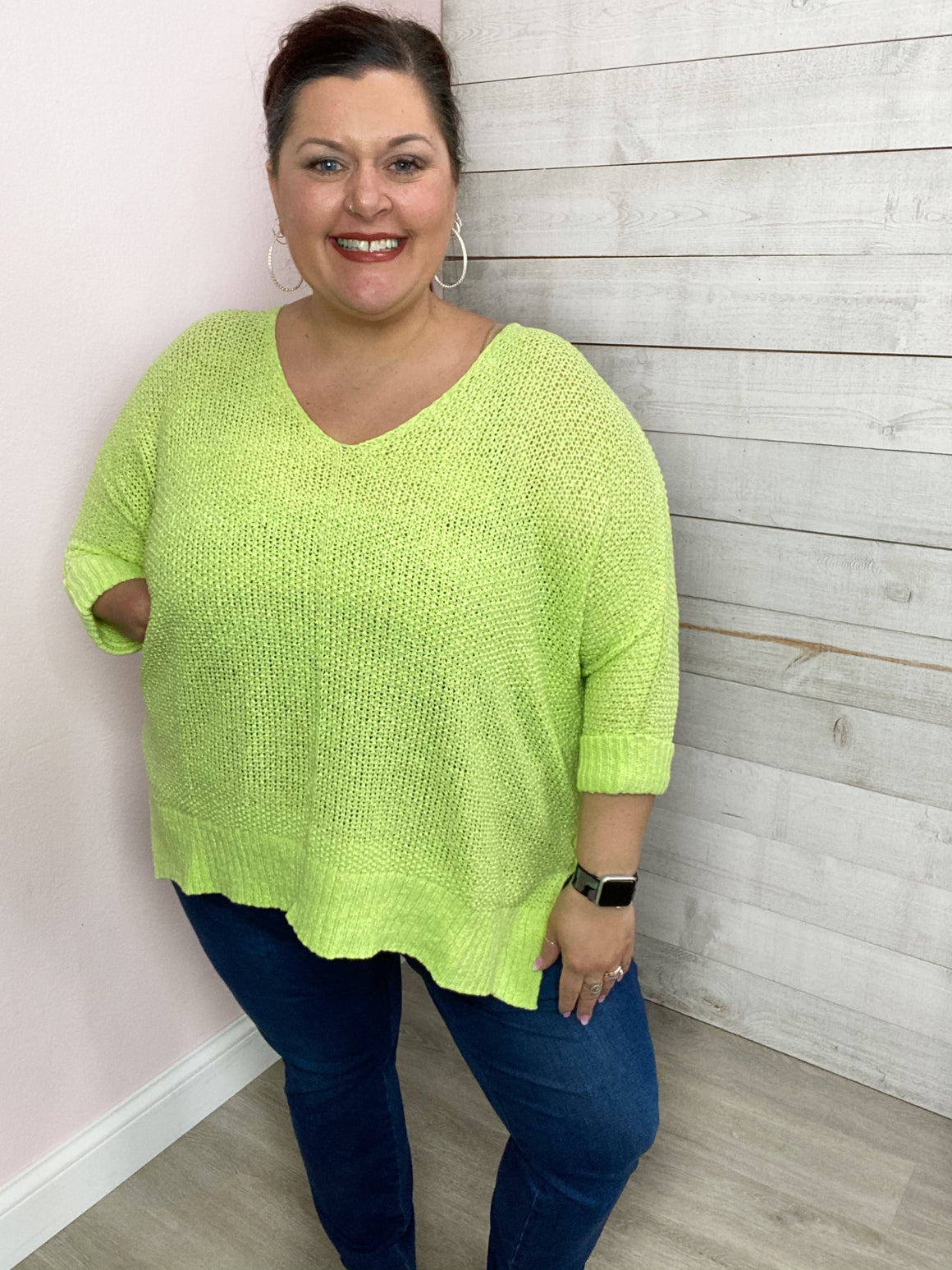 """Margarita Lime"" Neon Lime Knit Sweater Top"