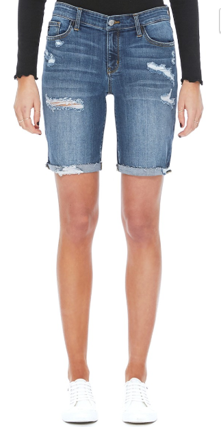 Judy Blue Shorts- Destroyed Bermuda Medium Wash