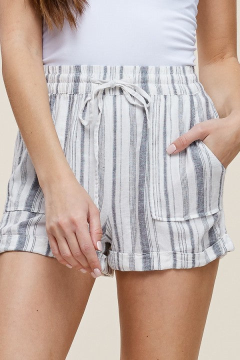 """Place for Everything"" Grey Stripe Shorts"