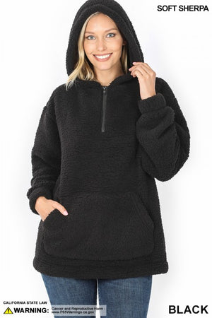 "BF- ""Show Me Some Warmth"" Black Quarter Zip Sherpa"