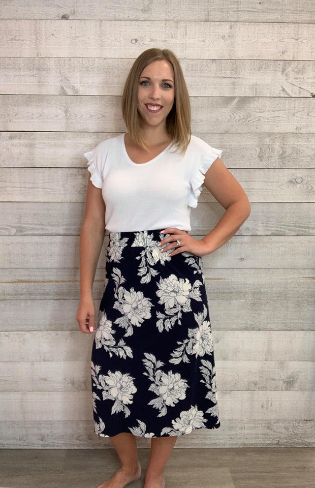 Skirt- Navy and White Floral