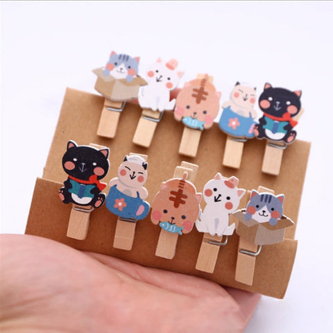 Colorful Cats Wooden Clips /10pcs/ - catzzcorner