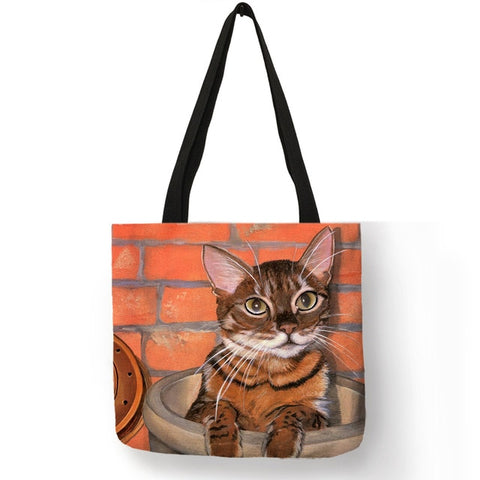 Oil Painting Cat Shopping Bag - catzzcorner