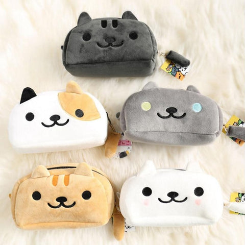 Cat Face Plush Pencil Case - catzzcorner