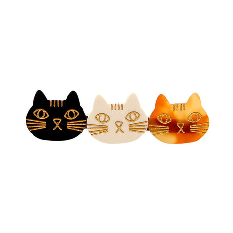 3 Cat Faces Hairclip - catzzcorner