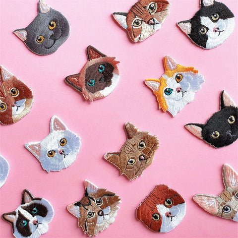 Colorful Cat Face Patch with embroidery - catzzcorner